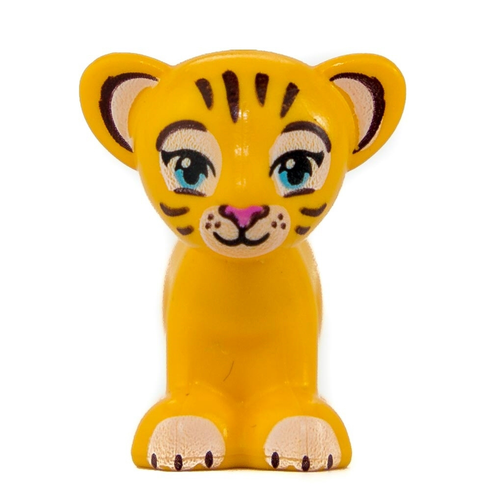 Lego Animal Friends Lion / Tiger, Cub with Medium Azure Eyes, Dark Pink Nose and Dark Brown Stripes Pattern (Rajah) Figure