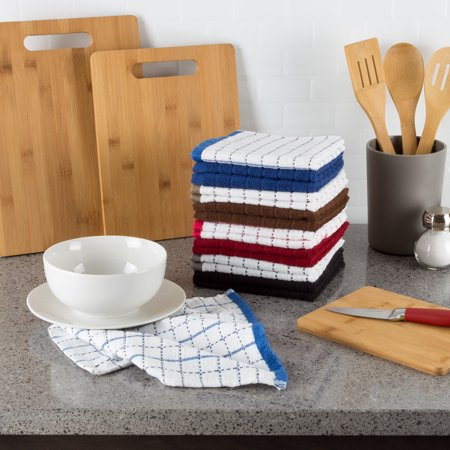 16 pc 100% Cotton Kitchen Dish Cloth Washcloths, Windowpane Pattern by Somerset Home