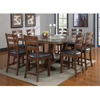 """Emerald Home Castlegate Pine Brown 60"""" Gathering Height Dining Table with Self Storing Extension Leaves, Plank Style Top, And Turnbuckle Bracing"""