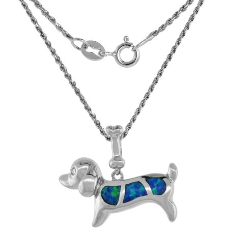Sterling Silver Synthetic Opal Dog Necklace for Women CZ Accent Hand Inlay 3/4 inch long 16 inch ROPH_25