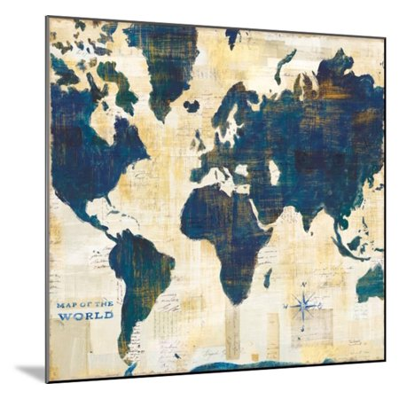 Mounted World Map.World Map Collage V2 Wood Mounted Print Wall Art By Sue Schlabach