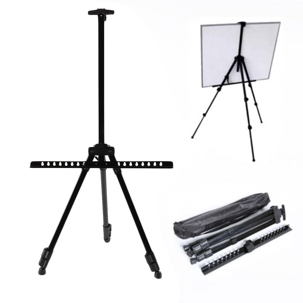 Portable Painting Easel Tripod Stand,Folding Artist Telescopic Field Studio Painting Easel Tripod Display Stand,Black