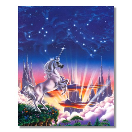 Hildebrandt Fantasy Art - White Magical Unicorn Edge Fantasy Wall Picture 8x10 Art Print