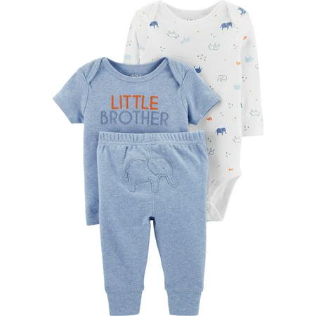 Long Sleeve Bodysuit, T-Shirt & Pants, 3pc Outfit Set (Baby Boys) (Baby Boy Clothes Walmart)