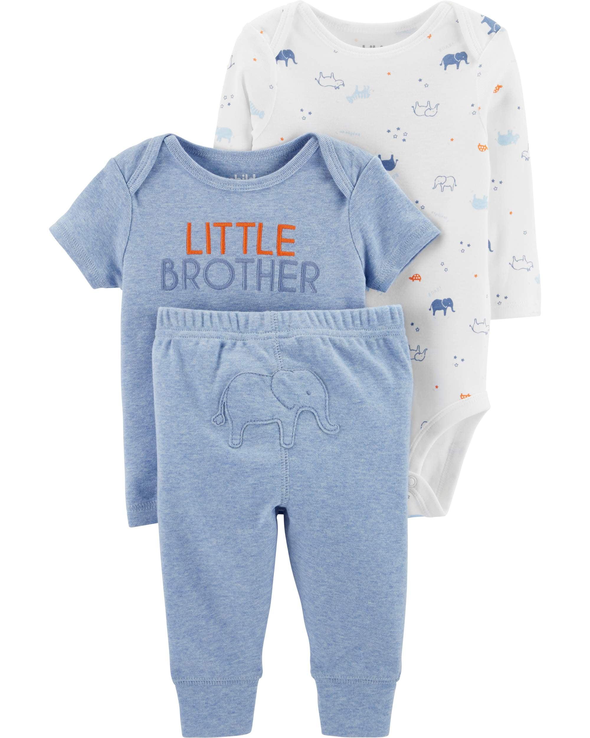 Long Sleeve Bodysuit, T-Shirt & Pants, 3pc Outfit Set (Baby Boys)