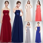 Ever-Pretty Womens Elegant Long Maxi Strapless Summer Wedding Guest Bridesmaid Prom Dresses for Women 09955 Blue US 4