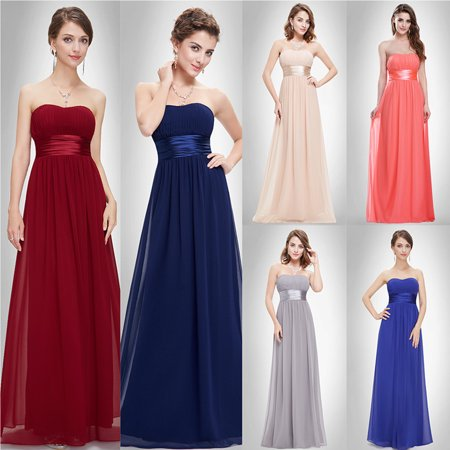 Ever-Pretty Womens Elegant Long Maxi Strapless Summer Wedding Guest Bridesmaid Prom Dresses for Women 09955 Blue US 4 - Belle Dress For Women
