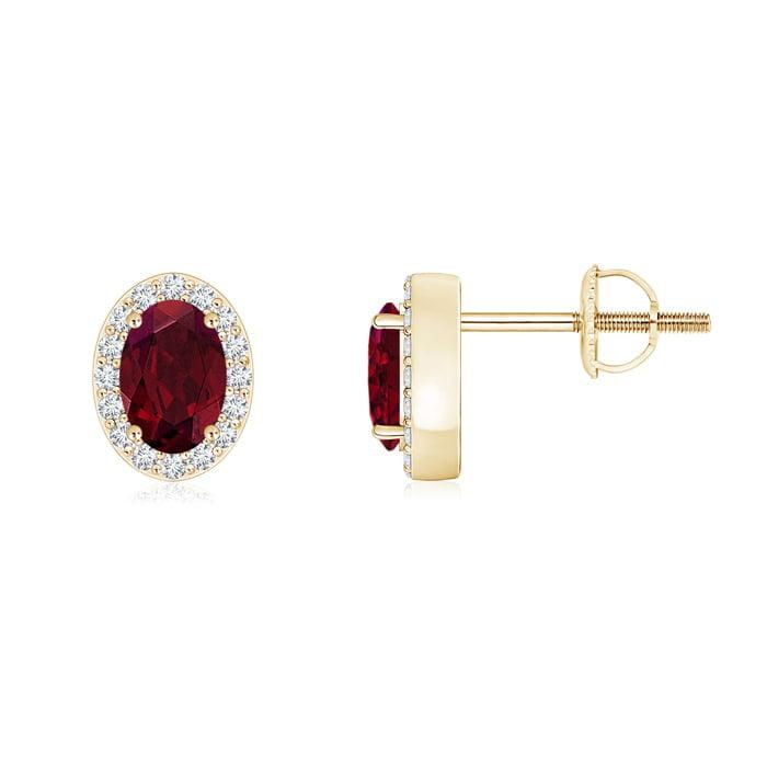 Angara Oval Garnet and Citrine Stud Earrings with Diamonds E9Gcty
