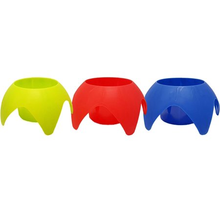 Set of 3 Sand Beach Yard Coaster Drink Cup Holder Durable Plastic Assorted Colors Outdoor or Indoor (Outdoor Drink Holders)