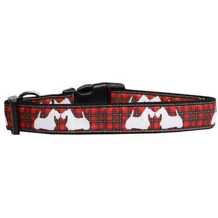- mirage 125-229 lg red plaid scottie pups nylon dog collar large