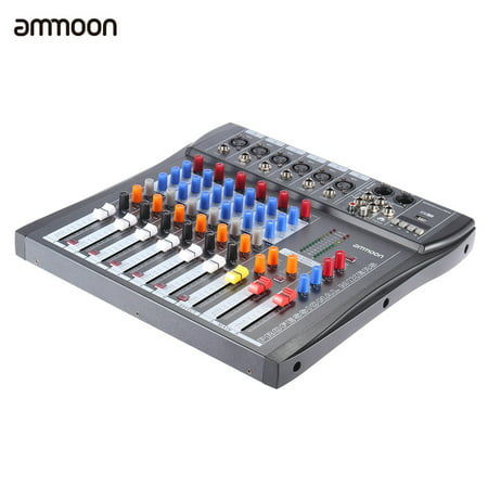 ammoon 60S-USB 6 Channels Mic Audio Mixer Mixing Console 3-band EQ USB XLR Input 48V Phantom Power with Power Adapter Channel Audio Mixing Console