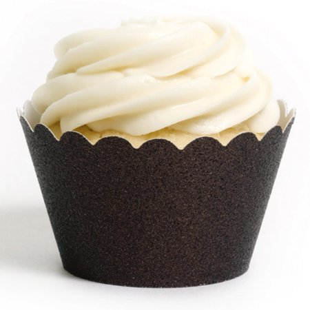 Dress My Cupcake Chocolate Brown Glitter Reusable Cupcake Wrappers, Set of 12