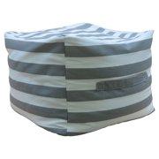 Premiere Home Gray Stripes 17 in. Pouf Ottoman