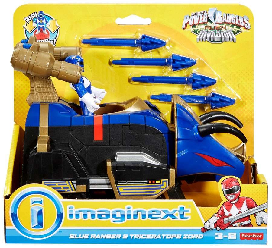 Power Rangers IMaginext Blue Ranger & Triceratops Zord Figure Set [Alien Invasion] by Fisher & Price