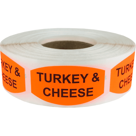 Turkey and Cheese Grocery Store Food Labels .75 x 1.375 Inch Oval Shape 500 Total Adhesive - Cheese Labels