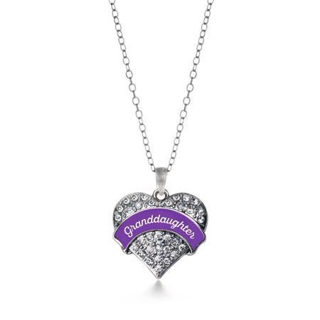 (Purple Granddaughter Pave Heart Necklace)