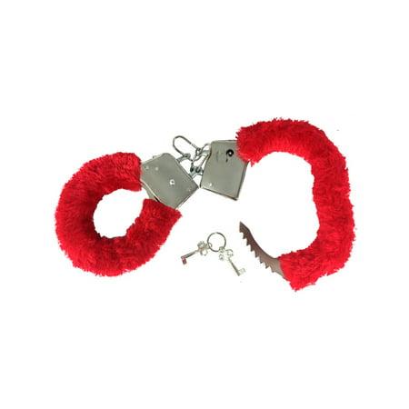 Fuzzy Alligator - Soft Red Steel Fuzzy Furry Handcuffs Hand Cuffs