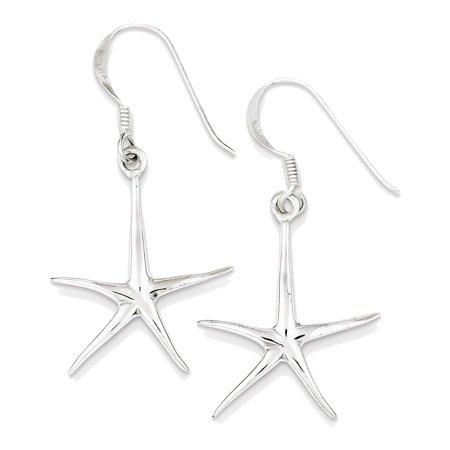 925 Sterling Silver Starfish Dangle Earrings