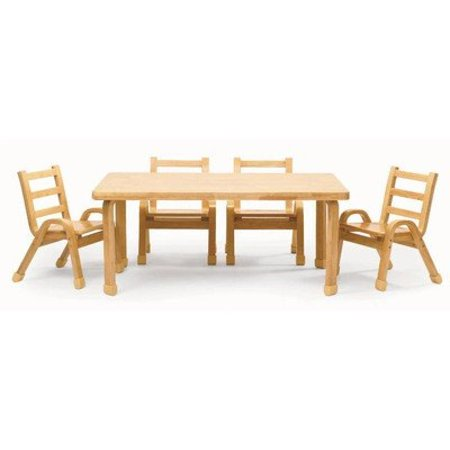 Angeles Furniture Natural Wood Collection 30 X 48 12 Rectangle Toddler Table And Chair
