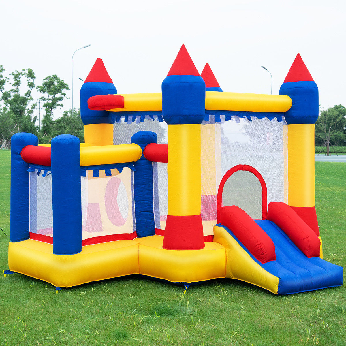 Costway Inflatable Bounce House Castle Kids Jumper Slide Moonwalk Bouncer without Blower