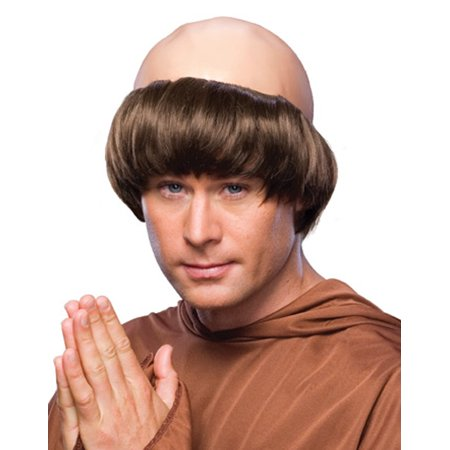 Brown Bald Spot Balding Monk Friar Tuck Priest Medieval Adult Halloween Wig Mens](Balding Wig Halloween)