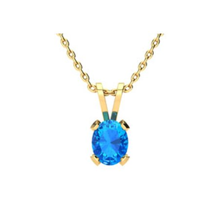 1/2 Carat Oval Shape Blue Topaz Necklace In 14K Yellow Gold Over Sterling Silver 18 Inches ()