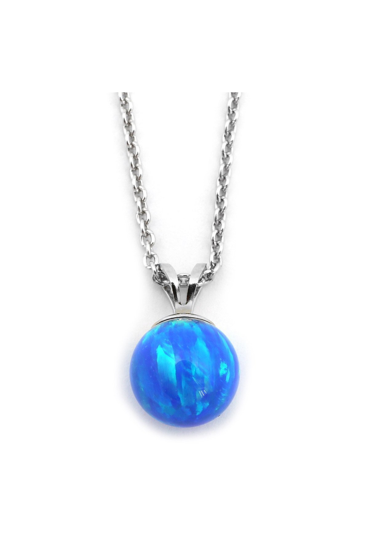 Beauniq Solid Sterling Silver Rhodium Plated Simulated Blue Opal Dolphin Tail Pendant Necklace