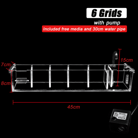 External Aquarium Water Pumps - 2-6 Grids Acrylic Aquarium Fish Tank External Hang On Filter Box with Water Pump
