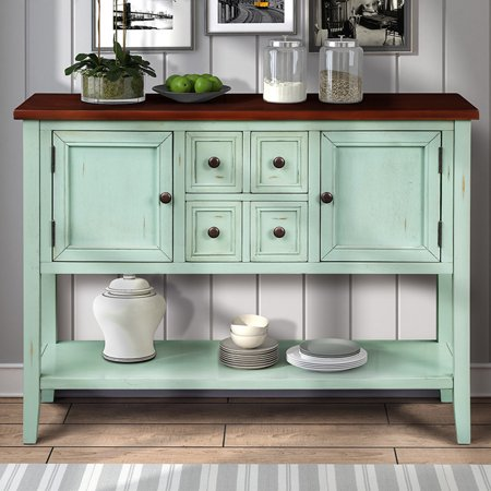 Console Table with 4 Drawers Clearance, Tall MDF Panels Console Cabinets with Storage, Buffet Sideboard Desk Accent Table w/2 Cabinets and Bottom Shelf, Entryway Table w/Solid Wood Frame, 99lbs, S5265 ()