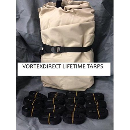 BRAND NEW VORTEX LIFETIME TARP, 28' X 28', HEAVY DUTY MARINE GRADE CANVAS, TAN/BEIGE (FAST SHIPPING - 1 TO 4 BUSINESS DAY DELIVERY) ()