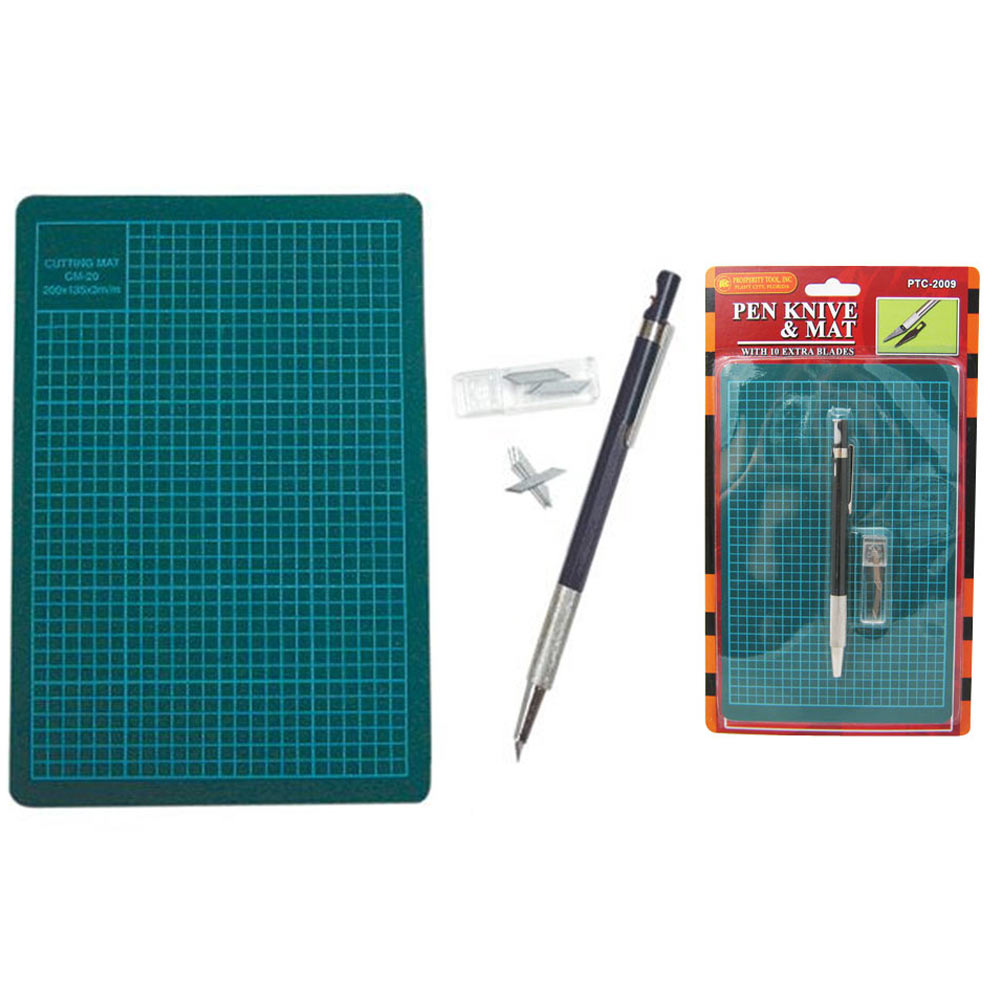 Pen Knife Cutting Board Mat +10 Blades Exacto Hobby Craft Tools Compact Office