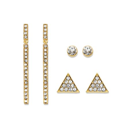 Triangle Two Tone Earrings (Triangle, Linear and Round White Crystal 3-Pair Gold Tone Cluster Stud and Drop Earrings Set 1.75