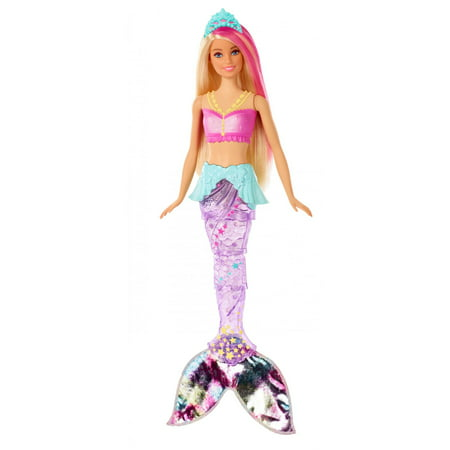 Barbie Dreamtopia Sparkle Lights Mermaid with Blonde & Pink Hair Color Change Mermaid Doll