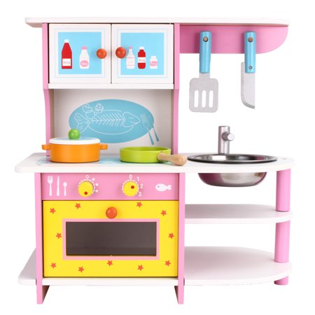 Kids Wood Kitchen Play Set Classic Wooden Cooking Pretend Play Set for Boys and Girls Includes Accessories Perfect Gift for Toddlers and Kids Age 3 and up