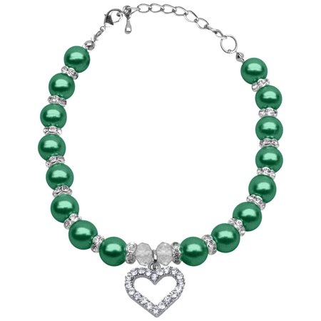 Heart and Pearl Necklace Emerald Green Lg (10-12) (May Bell Banjo Green Mother Of Pearl)