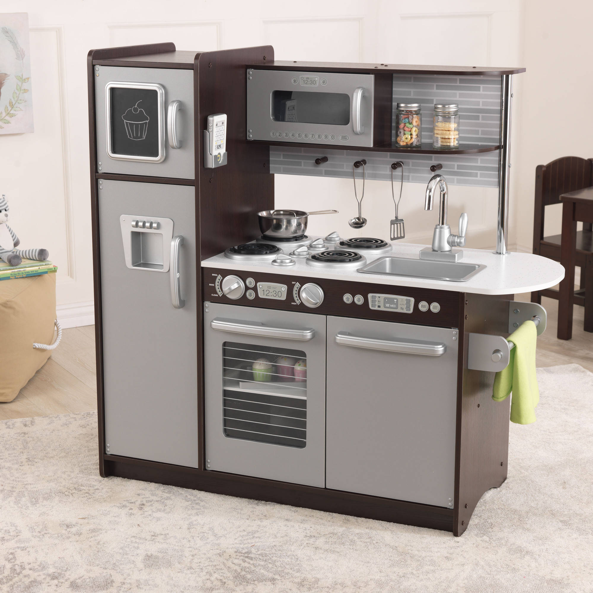 Wooden Play Kitchen kidkraft uptown wooden play kitchen, espresso - walmart