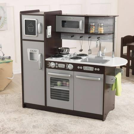 Kidkraft Uptown Espresso Wooden Play Kitchen Walmart Com