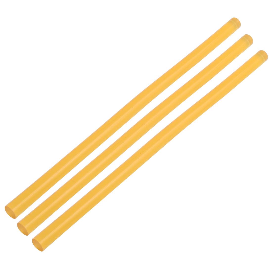 11mmx270mm Heating  Hot Melt Glue Adhesive Stick Yellow 3pcs