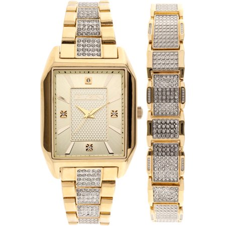 Men's Crystal Accented Watch and Matching Bracelet, Gold Mens Gold Watch Bracelet