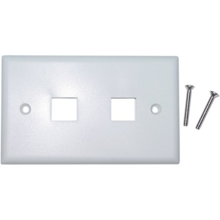 Cable Wholesale 301-2K-W 2 Port Single Gang Keystone Wall Plate - White