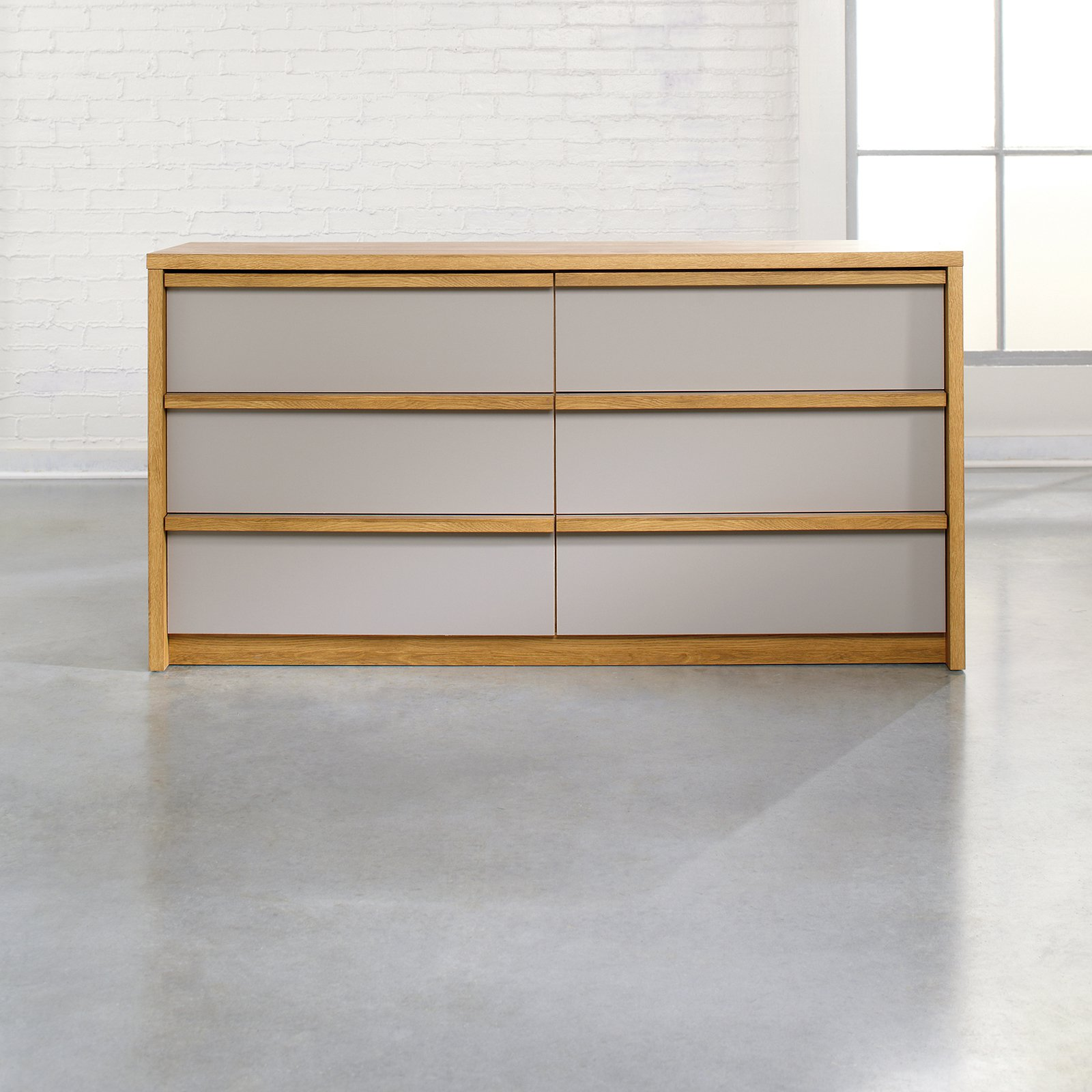 Soft Modern 6 Drawer Dresser - Pale Oak