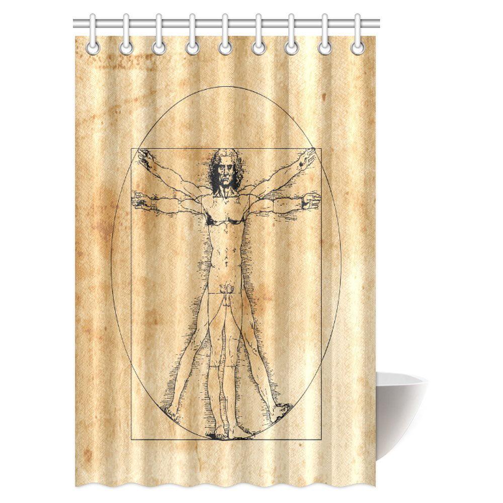 MYPOP Human Anatomy Decor Shower Curtain, Medieval Vitruvian Man ...