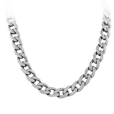 Stainless Steel Silver-Tone Men's Classic Link Cuban Chain Necklace