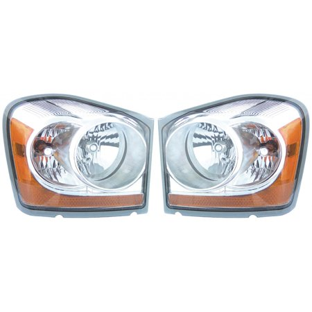 For 2004-2005 Dodge Durango Pair Head Lights Driver and Passenger Side ; w/Integrated Marker Lamp CH2502147 CH2503147 - replaces 55077721AC/AD 55077720AC/AD