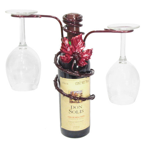 Metrotex Designs Grapevine Style Iron 2 Stem Holder Wine Bottle Topper