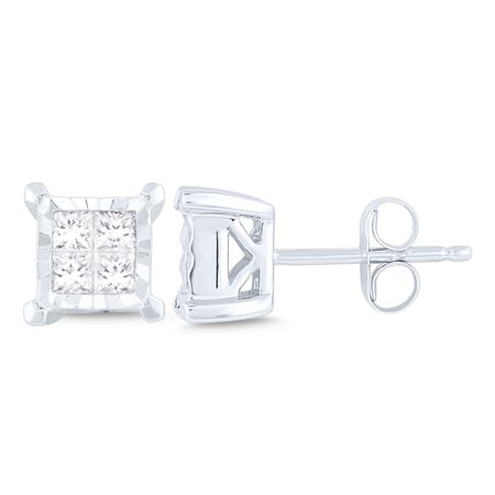 1/3 ct diamond 4 stone Princess Stud Earrings (I2I3 clarity, IJ color) 10kt White Gold.