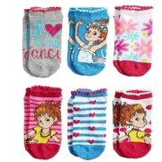 disney fancy nancy socks for girls 6 pair no show shoe size 10-4 (shoe size 10-4 little girls)