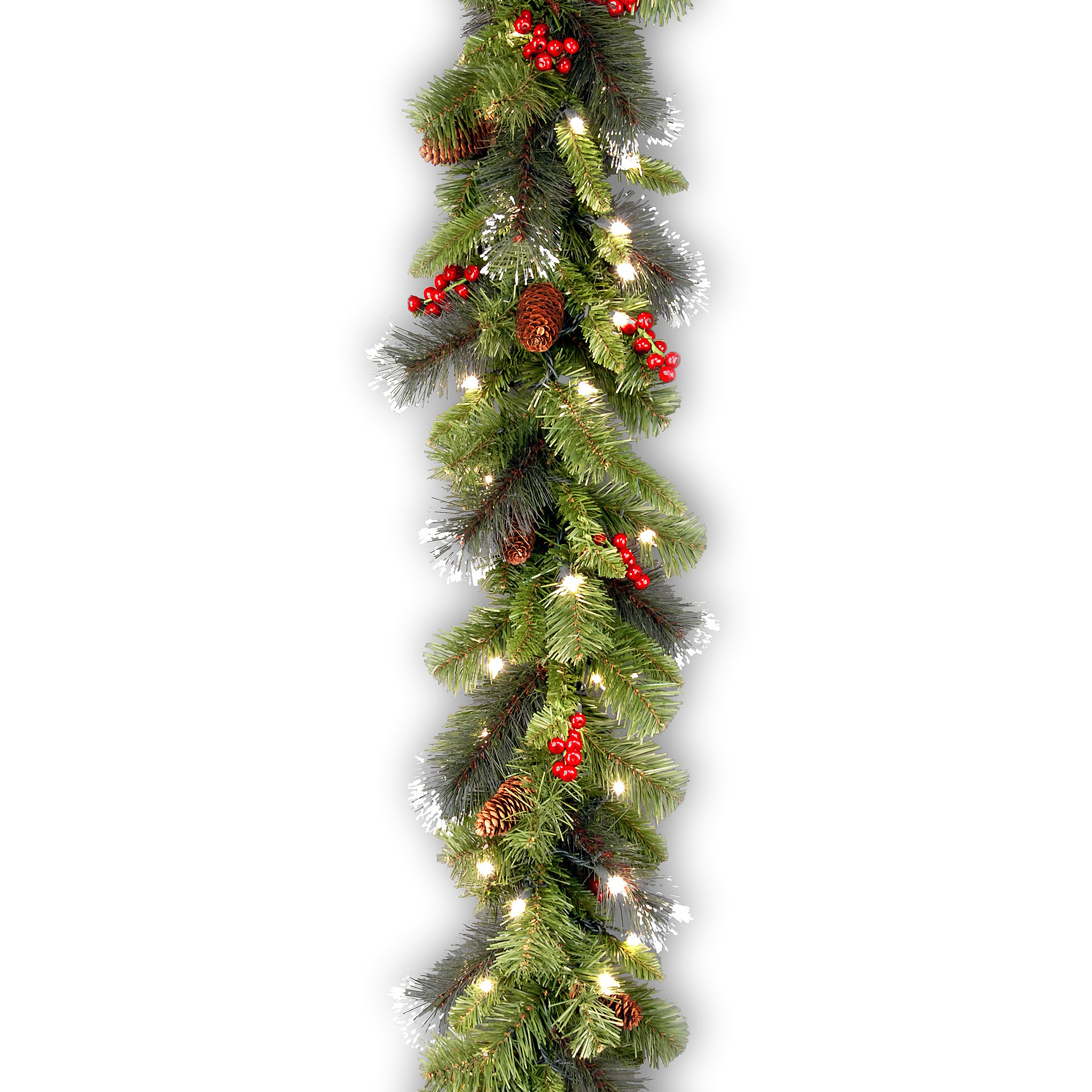 "National Tree 9' x 10"" Crestwood Spruce Garland with Silver Bristle, Cones, Red Berries and Glitter with 50 Battery Operated Soft White LED Lights"