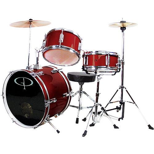 GP Percussion 3-Piece Complete Junior Drum Set, Metallic Wine Red