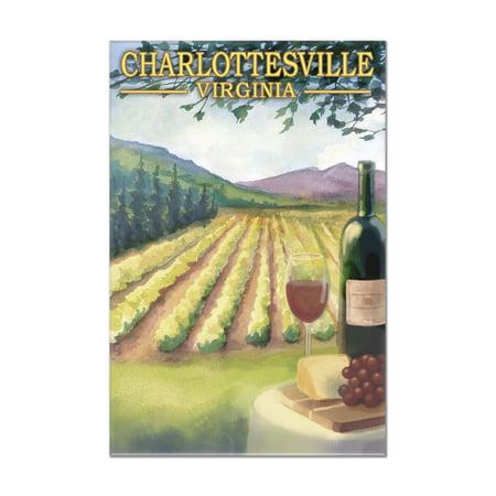 Charlottesville, Virginia - Wine Country - Vineyard Scene - Lantern Press Artwork (8x12 Acrylic Wall Art Gallery Quality)